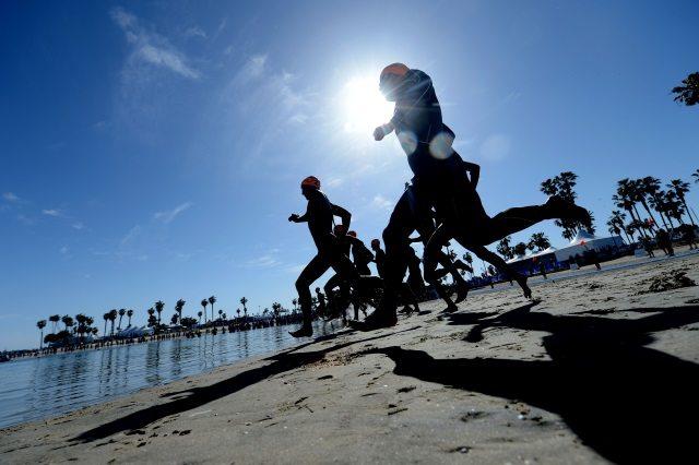 Entering the water at ITU World Triathlon San Diego