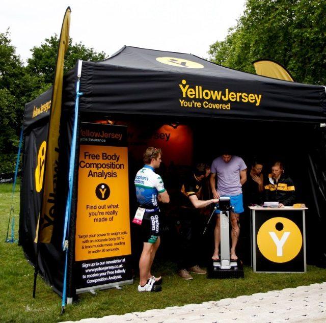 Yellow Jersey stand at PruHealth ITU World Triathlon Hyde Park 2014
