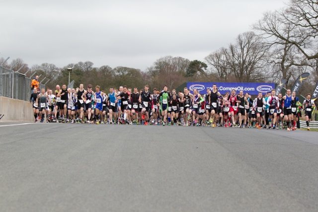Start line at Oulton Park Spring Duathlon 2014 - sprint race