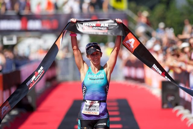 Meredith Kessler wins Ironman 70.3 Asia-Pacific Championships, Auckland, New Zealand on 18 Jan 2015 - Photo Darryl Carey