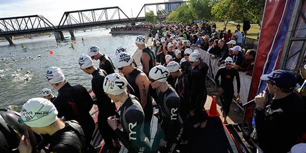 Lining up for a swim start - USA Triathlon championship event