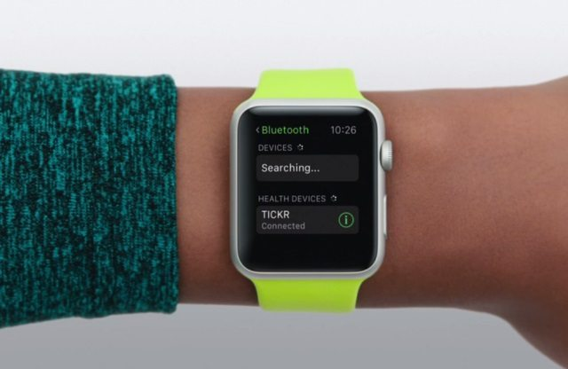 Apple Watch connected to Wahoo Fitness TICKR for HRM measurement