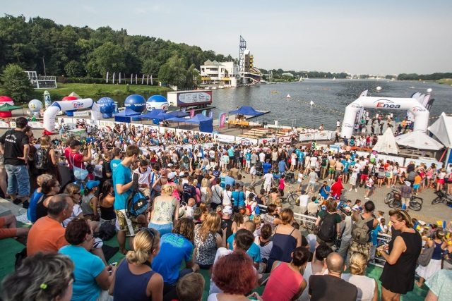 Spectators at Enea Triathlon in Poznan, Poland