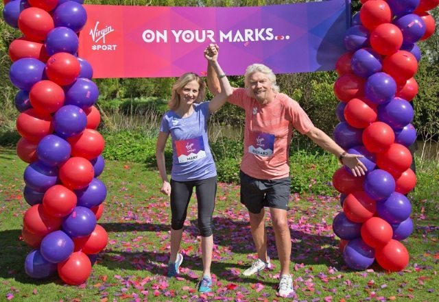 Virgin Group has announced the formation of Virgin Sport - pictured are Mary Wittenberg and Sir Richard Branson