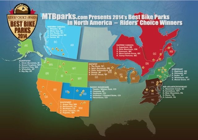 MTBparks.com reveals the best bike parks in North America - by region