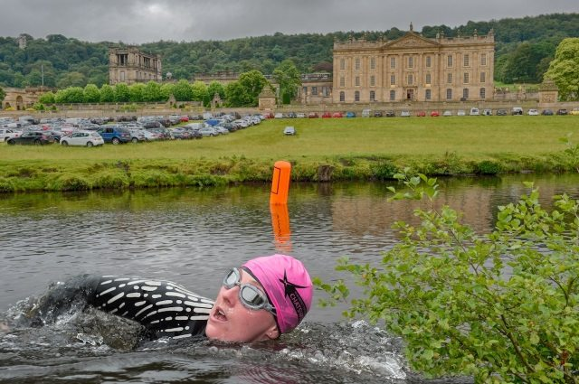 Xtra Mile Events - swimmer at Peak District Triathlon at Chatsworth
