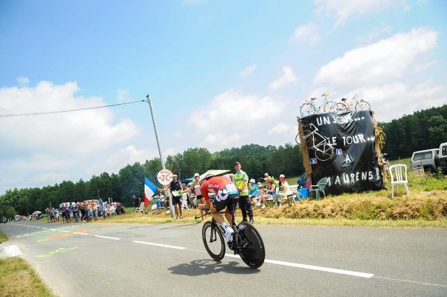Time trialling at the 2014 TDF