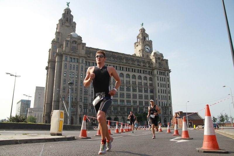 Running by the Liver Building at Tri Liverpool