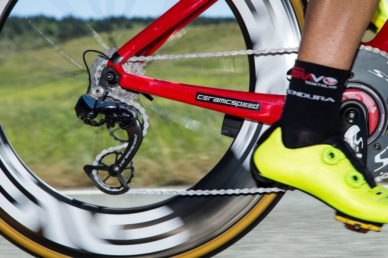 Tim Don rides with new CeramicSpeed OSPW System - pulley wheel close-up