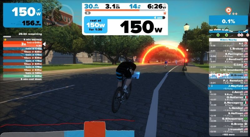 Zwift - upcoming interval display