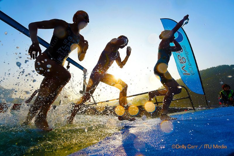 ITU World Cup in Korea, athletes exit the water - photo credit Delly Carr-ITU