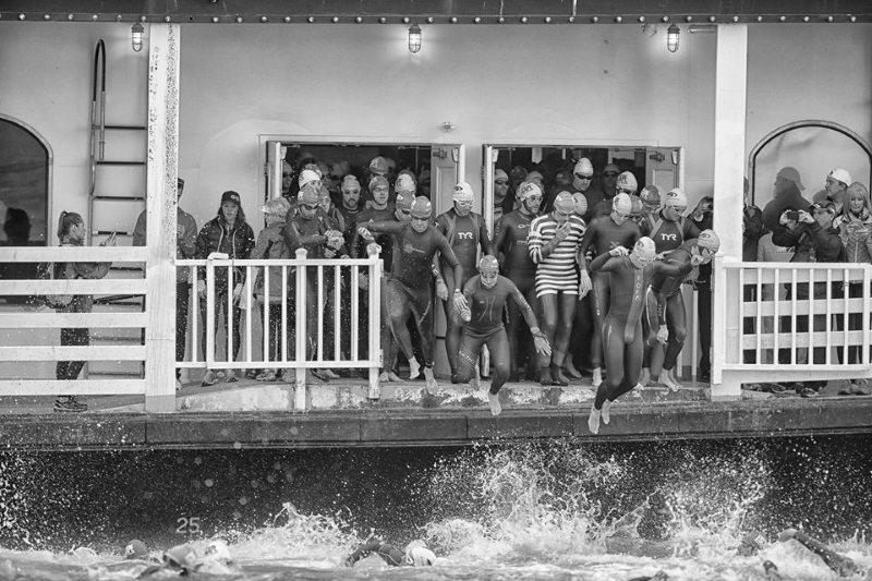 Escape from Alcatraz ferry swim start - jump