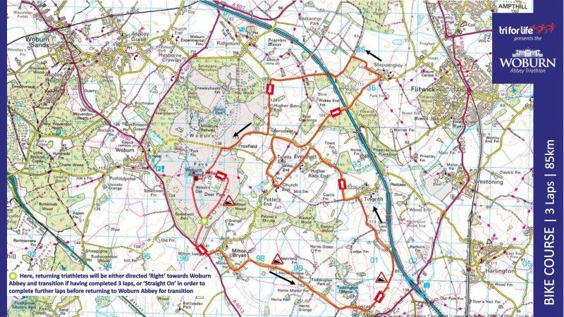 2016 Tri For Life WoBurner Bike Route Map