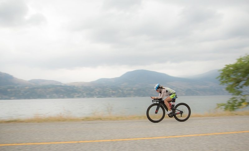 Triathlete on the bike in Penticton, Canada