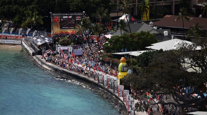 A view of the finish line at the 2016 IRONMAN World Championship triathlon on October 8, 2016 in Kailua Kona, Hawaii. (Photo by Sean M. Haffey/Getty Images for Ironman)