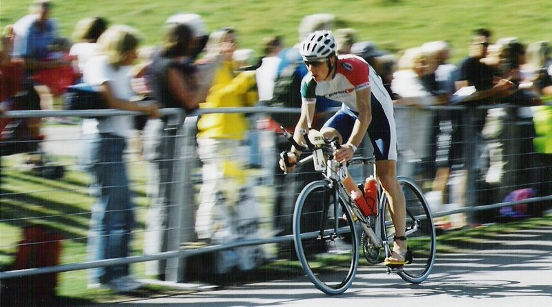 Precision Hydration founder Andy Blow on the bike at Sherbourne Ironman 2003