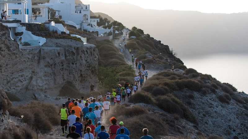 Runners on trails - photo credit Elias Lefas Santorini Experience