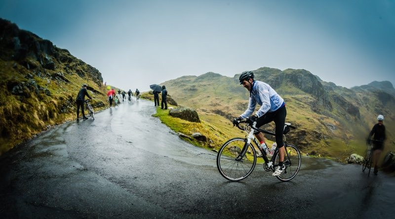 Rider takes on Hardknott Pass on Fred Whitton Challenge in 2015, photo credit - Dominic Fay - photographer Steve Fleming