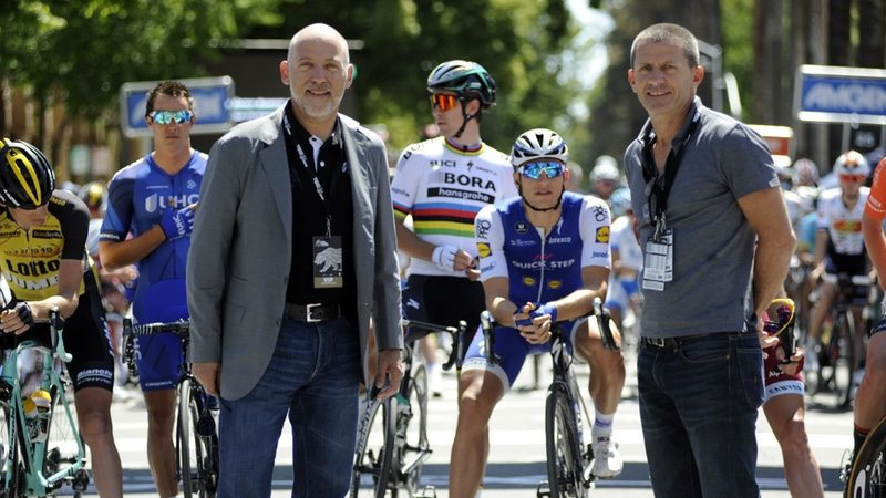 Steven Cohen, Chief Strategic Officer, AEG and Yann Le Moenner, Managing Director of A.S.O. at Amgen Tour of California on Sun 14 May 2017 - Photo Business Wire