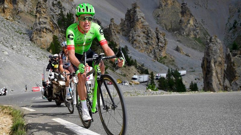 Cannondale-Drapac Pro Cycling Team rider Rigoberto Uran climbs at TdF 2017