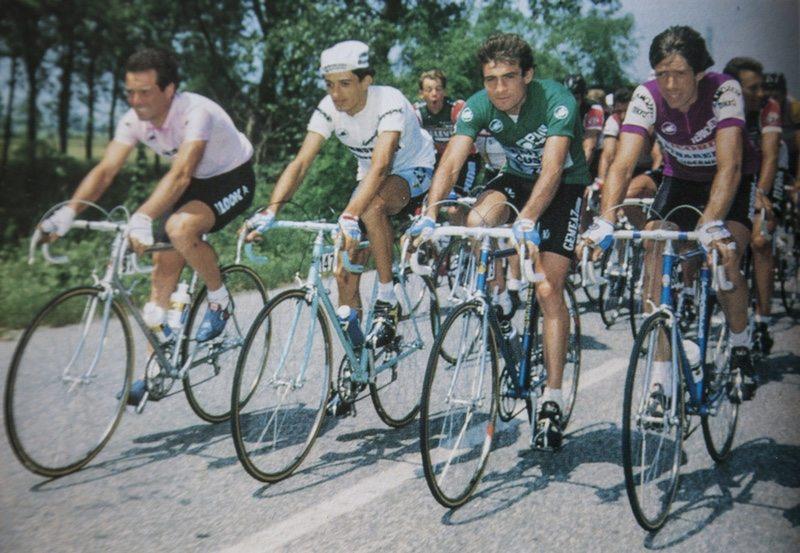 Hinault pink jersey, Volpi white jersey, Van Impe green jersey, Van Der Velde cyclamen jersey - photo Castelli Archive