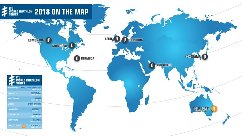 ITU World Triathlon Series 2018 map