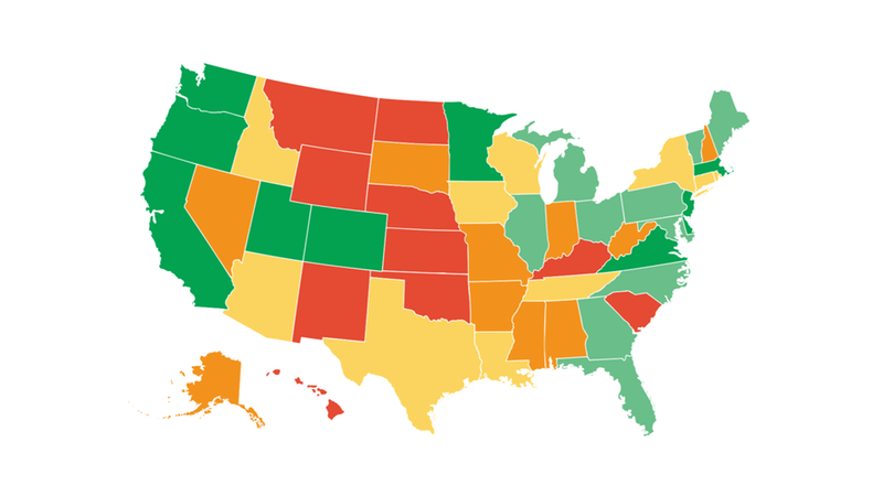 League of American Bicyclists - Bicycle Friendly State map
