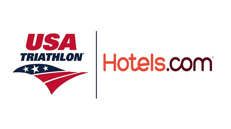 USA Triathlon and Hotels.com logos