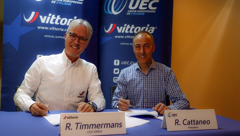 René Timmermans, CEO of Vittoria EMEA and Rocco Cattaneo, President of Union Europeenne de Cyclisme