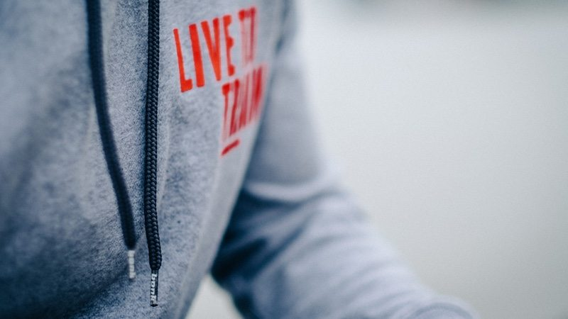 Bonk hoodie with Live to Train strapline