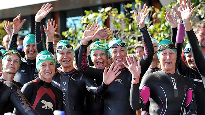Sue Reynolds front row second from right USA Triathlon Ambassador - photo ITU Media Janos Schmidt.